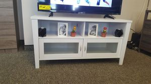 2 Glass Door TV Stand up to 55 inch, White for Sale in Downey, CA