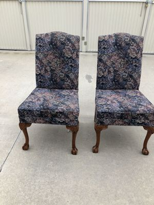 Ball and Clawfoot pair of upholstered chairs for Sale in Fresno, CA