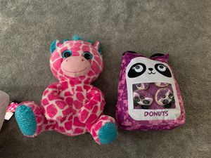 Jumbo stuffed animals panda donut pink giraffe for Sale in Norfolk, VA