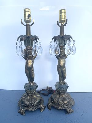 "Antique Metal/Crystal-Prisms Ornate Cherubs Table Lamp Set (Height: 19-1/2"") for Sale in Dade City, FL"