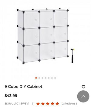 """9-Cube DIY Plastic Closet Cabinet, Modular Bookcase, Storage Shelving with Doors for Bedroom, Living Room, Office, 36.7""""L x 12.2""""W x 36.7""""H White for Sale in Los Nietos, CA"""