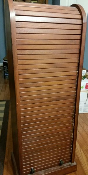 Roll top style wood cd/dvd storage shelf for Sale in Palatine, IL