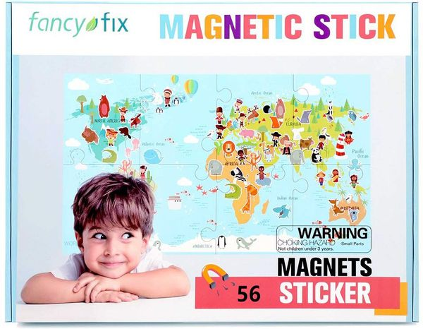Magnetic World Map Puzzle for 21in x 37in