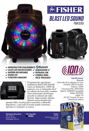 ***AMAZING: Fisher Blast LED Sound FBX550 speaker with Karaokee function, fm radio, led lights, USB port, on the go strap among others. for Sale in Miami, FL