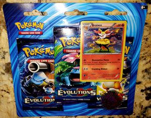 Pokemon Sealed 3 Pack Blister EvolutionS Braixen Promo XY 161 for Sale in Lafayette, OR