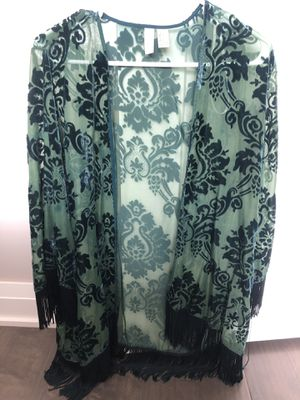 Kimono with velvet and fringe for Sale in Columbus, OH