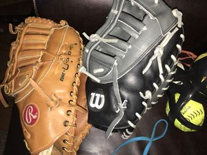 First base mitt baseball glove softball Rawlings $70 Wilson $230 for Sale in Beltsville, MD