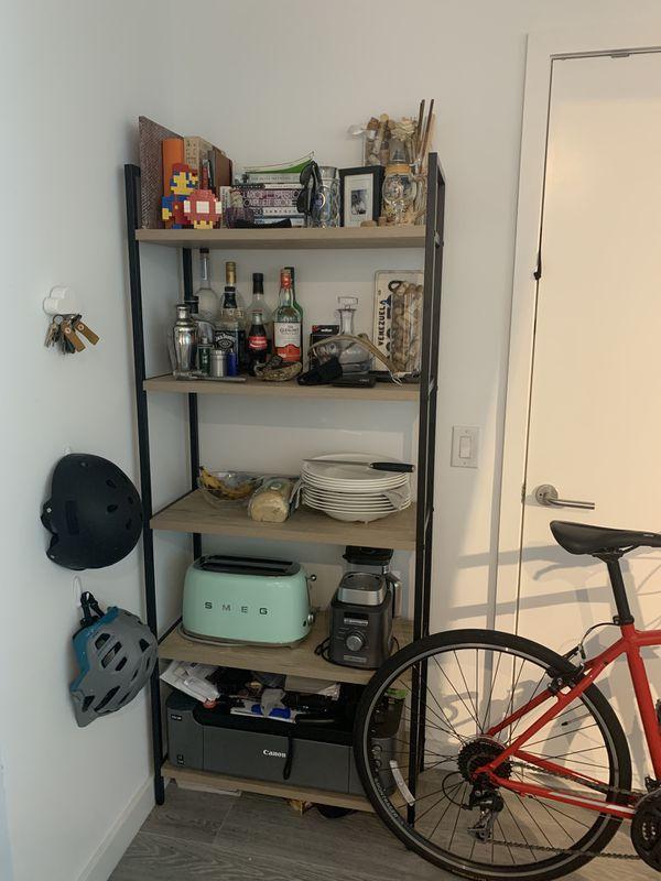 (Qty 2) Loring 5 shelf ladder bookcase (grey)