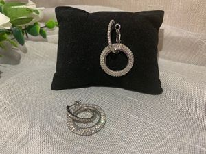 New Style Bling Bling Full Crystal Circle Earrings for Women Luxury Round Shiny Hoop Earrings Party Wedding Jewelry, Silver Color for Sale in Tustin, CA
