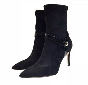 Suede buckled stiletto ankle boots for Sale in San Leandro, CA