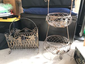 Antique gold home decor. Magazine rack and basket for Sale in Chandler, AZ