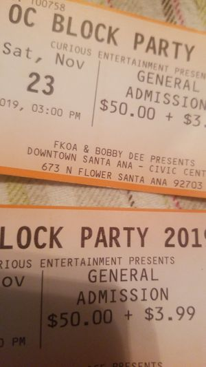 OC block party 2 tickets 100 for Sale in Santa Ana, CA