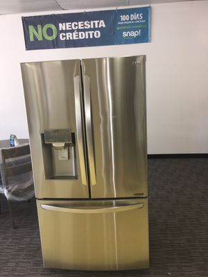 LG SMART French Door Refrigerador Scraches Dent With Warranty No Credit Needed for Sale in Garland, TX