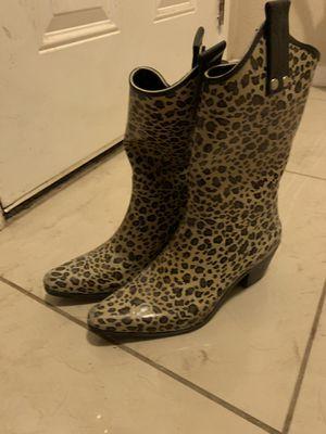 Cheetah print cowgirl rain boots. Size 7 for Sale in Pasadena, TX