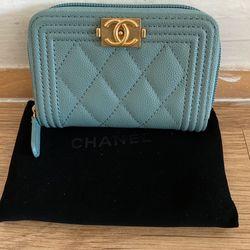 Chanel Small Caviar Baby Blue Zipper Wallet /Coin Purse for Sale in Fairfax,  VA
