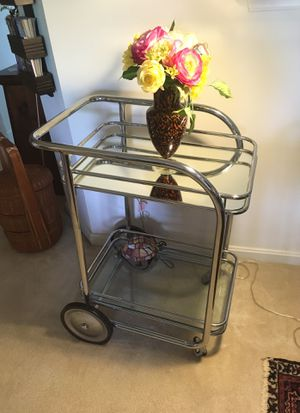 Unique serving cart of glass mirror and chrome. Beautiful for any decor. Serve coffee and dessert or liqueurs or use to display art or pictures. It i for Sale in Ashburn, VA