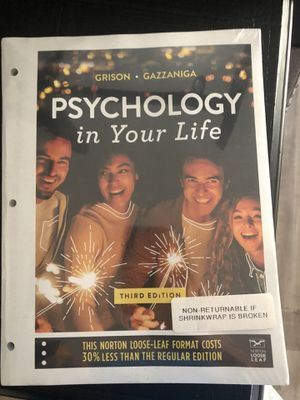 Psychology in Your Life Third Edition Textbook for Sale in Fontana, CA