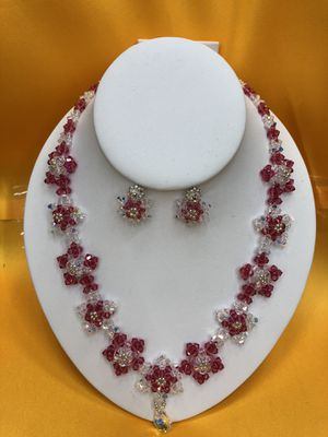 Swarovski Crystal necklace Set ( pink) Handmade for Sale in Huntington Beach, CA