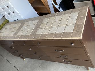 "$300 firm price-. Dark Brown dresser or Buffet Table with tiles are 5'6 1/2"" long X 2'8"" tall X 18"" deep VERY HEAVY BUT I CAN HELP LOAD. HAS SOME for Sale in Yakima,  WA"