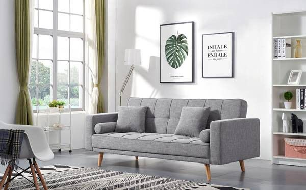 New In Box Stunning Gray Mid Century Modern Sofa Couch