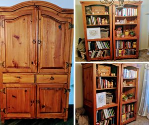Solid wood, deep, rustic armoire and bookshelves for Sale in Mesa, AZ