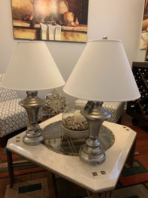 Brand new silver lamps with cream shades for Sale in St. Cloud, FL