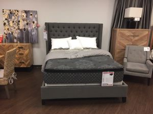 Queen Tufted Upholstered Bed, Grey for Sale in Santa Fe Springs, CA