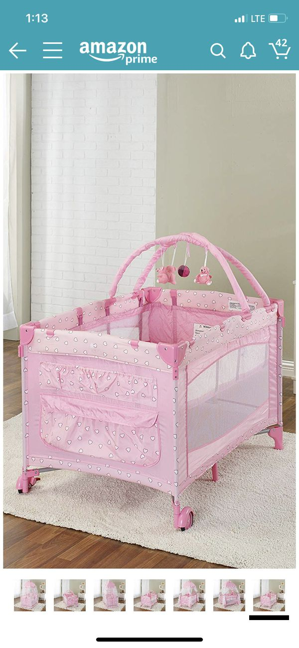 Pink Canopy Baby Playard Crib