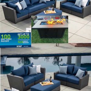 Patio Furniture Set Sunbrella Fabric With Fire Pit for Sale in Riverside, CA