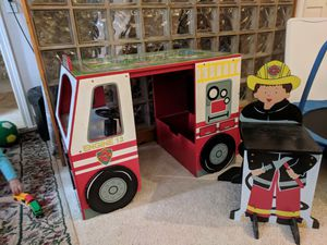 Children's fire truck play set with stool. for Sale in Portland, OR