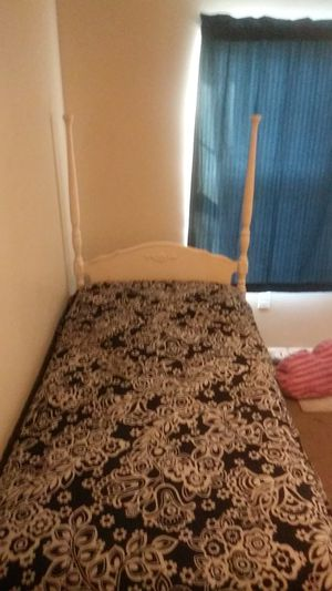 MATTRESS NOT INCLUDED...Twin bed frame w/ metal rails nice for young kids room for Sale in Columbus, OH