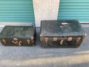 American decor vintage steam footlocker trunk boxes for Sale in Buena Park, CA