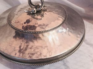 Mid century hammered aluminum serving dish with designer lid for Sale in South Bend, IN