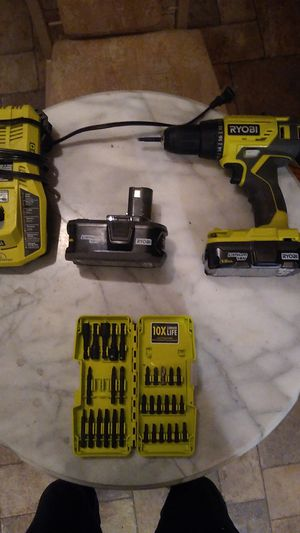 Ryobi 18v cordless drill with charger extra battery and power drill screwdriver set for Sale in Bolingbrook, IL