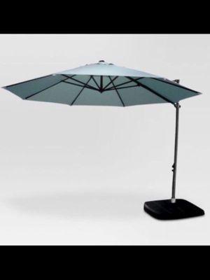 Patio Umbrella - 11' Aluminum Push Button Tilt Patio Offset Umbrella with Base - Azure - Threshold for Sale in Los Angeles, CA