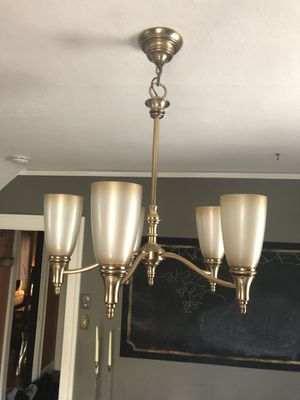 Chandelier like new in satin gold finish for Sale in Portland, OR