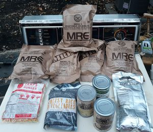Genuine issue fresh military combat MREs MEALS READY TO EAT, plus other food you see in the pictures, I FOUND IT like that in a Storage Unit for Sale in Fort Washington, MD