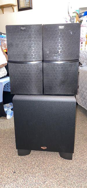 "Klipsch 225watt KSW 10"" downward firing powered subwoofer and 2 Klipsch VB15 8ohm 75watt bookshelf speakers for Sale in Jasper, IN"