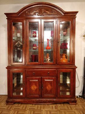 """Nice big solid wood chain of cabinet with lights, glass doors and shelves in very good condition, all doors working well,"""" for Sale in Annandale, VA"""