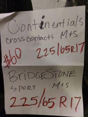 Bridgestone. 225/65R17 Continental for Sale in Minocqua, WI