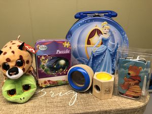 Travel Toys: New TY Mini's, Cinderella Tin, Tinkerbell 50 pc Puzzle, 2 Kaleidoscopes, Haba Game for Sale in Bolingbrook, IL