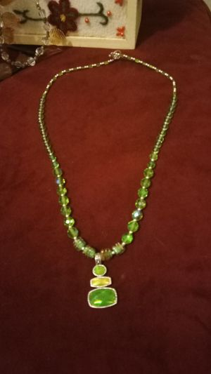 Crystal green glass necklaces for Sale in Colton, CA