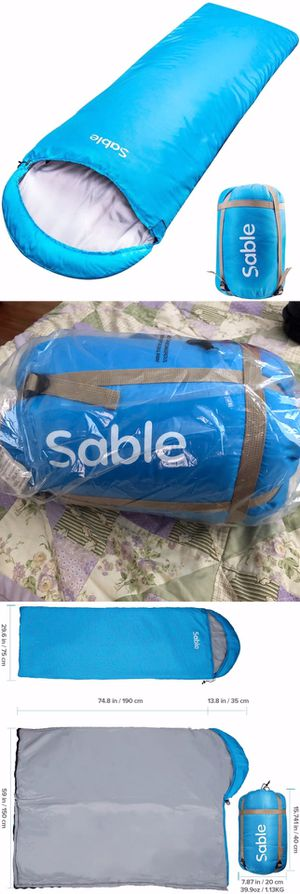 New 3 Season Adult Hooded Sleeping Bag Blue with compression sack for Camping Hiking Backpacking for Sale in Moreno Valley, CA