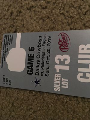 Dallas Cowboys Silver Lot 13 parking pass (10/20) for Sale in Irving, TX