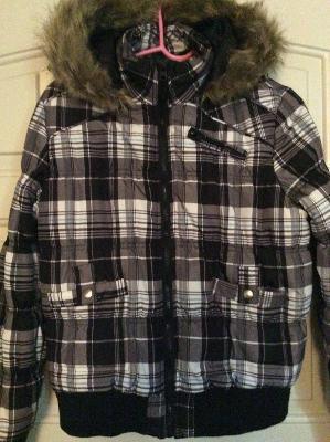 Like New Coffee Shop Faux Fur Hoodie Warm Coat Jacket plaid parka jacket for Sale in Austin, TX