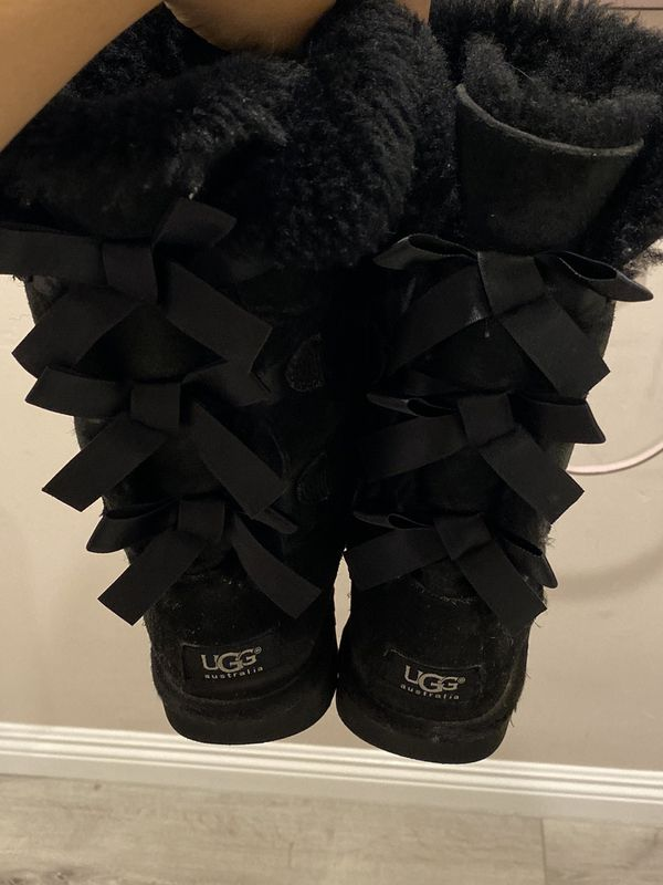 Black Uggs Bailey Bow Girls Size 3 Youth Boots