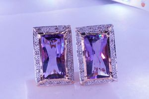 Diamond amethyst earrings gold for Sale in Atlanta, GA