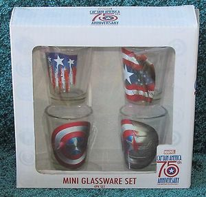 Collectable Captain America 1.5 oz Shot Glass Set 75th Anniversary Set for Sale in Stone Mountain, GA
