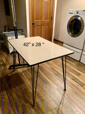 """Mid century kitchen table . Size 28"""" x42"""" 30"""" high can also be used as a kitchen island ! Hairpin metal legs for Sale in Brecksville, OH"""