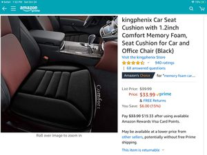 """Car/Office chair seat cushion with 1,2"""" comfort memory foam - new for Sale in Menifee, CA"""